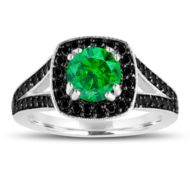 Fancy Green Diamond Engagement Ring 14K White Gold 1.56 Carat Halo Pave Handmade Certified