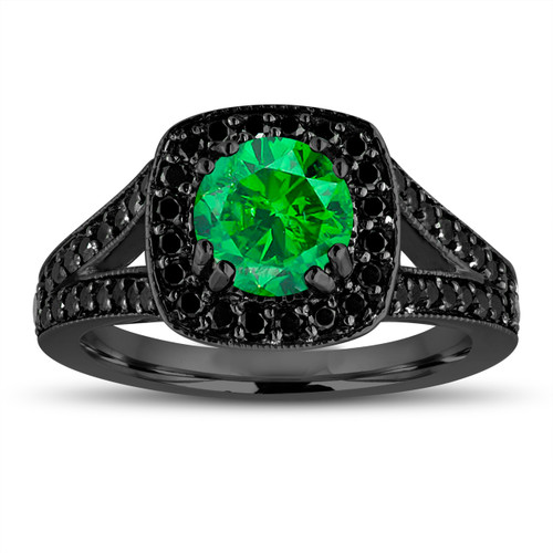 Fancy Green Diamond Engagement Ring 14K Black Gold Vintage Style 1.56 Carat Halo Pave Handmade Certified