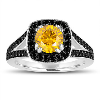 Fancy Yellow Diamond Engagement Ring 14K White Gold 1.56 Carat Halo Pave Handmade Certified