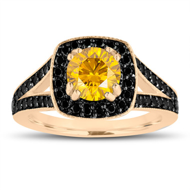 Fancy Yellow Diamond Engagement Ring 14K Yellow Gold 1.56 Carat Halo Pave Handmade Certified