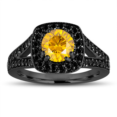 Fancy Yellow Diamond Engagement Ring 14K Black Gold Vintage Style 1.56 Carat Halo Pave Handmade Certified