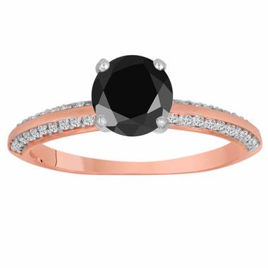 14K Rose Gold Fancy Black Diamond Engagement Ring 1.29 Carat Micro Pave Handmade Certified