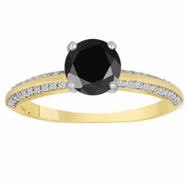 1.29 Carat Fancy Black Diamond Engagement Ring 14K Yellow Gold Micro Pave Handmade Certified