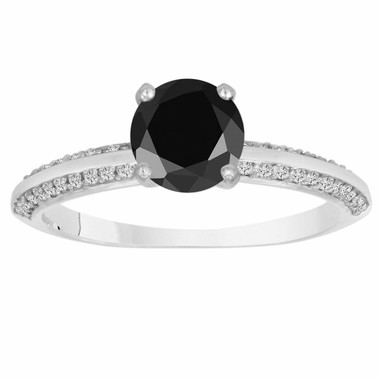 1.29 Carat Fancy Black Diamond Engagement Ring 14K White Gold Micro Pave Handmade Certified
