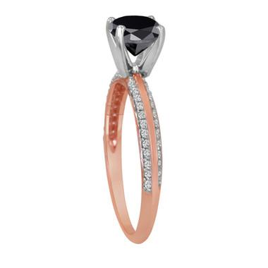 Fancy Black Diamond Engagement Ring 14K Rose Gold 2.26 Carat Micro Pave Handmade Certified