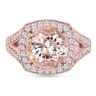 Peach Pink Morganite Engagement Ring 14K Rose Gold 3.00 Carat Halo Pave Handmade Certified Huge