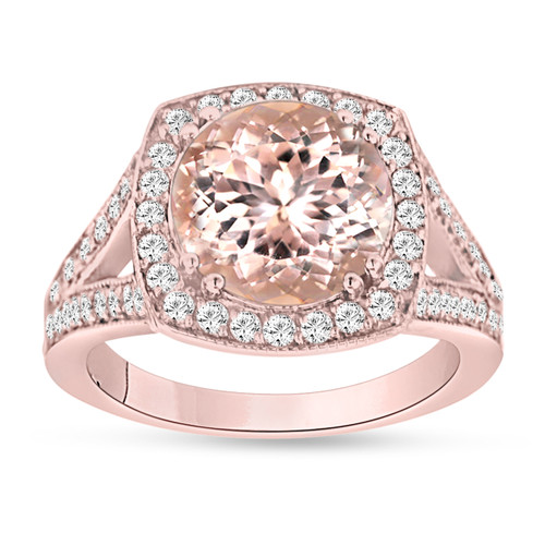 Pink Peach Morganite Engagement Ring 14K Rose Gold 3.00 Carat Halo Pave Handmade Certified Huge