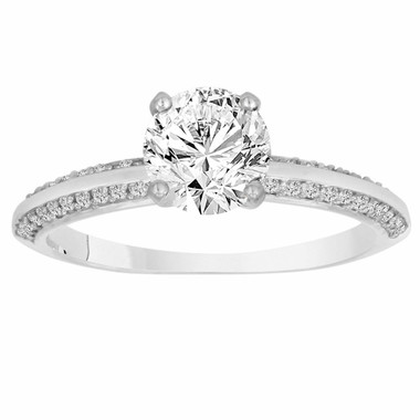 0.76 Carat Diamond Engagement Ring 14K White Gold Micro Pave Handmade Certified