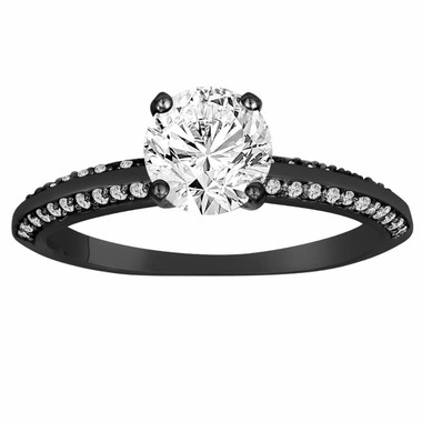 Vintage Diamond Engagement Ring, Black Gold Engagement Ring, Micro Pave Bridal Ring, 0.76 Carat Diamonds Wedding Ring, Handmade Certified