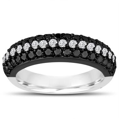 Fancy Black & White Diamonds Wedding Band 14k Black And White Gold Vintage Style Half Eternity 3 Rows Pave Unique 0.84 Carat