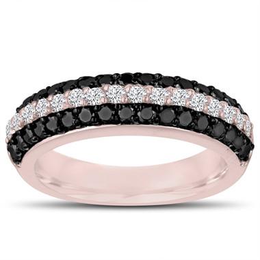 Fancy Black & White Diamonds Wedding Band 14k Rose Gold Half Eternity 3 Rows Pave Unique 0.84 Carat