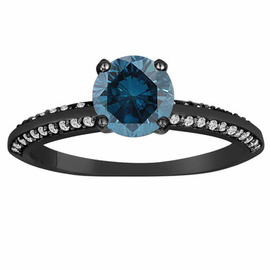 14K Black Gold Fancy Blue Diamond Engagement Ring Vintage Style 0.77 Carat Bridal Certified Micro Pave Handmade