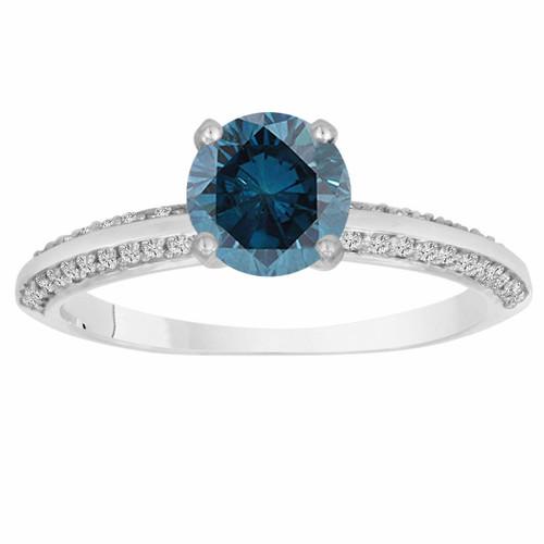 1.27 Carat Fancy Blue Diamond Engagement Ring 14K White Gold Bridal Micro Pave Certified Handmade