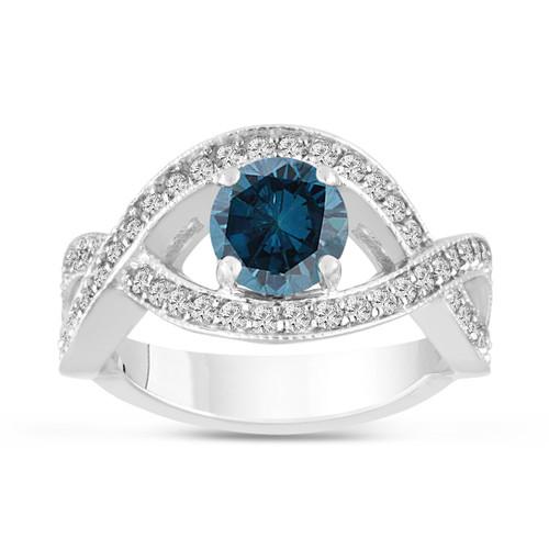 1.53 Carat Fancy Blue Diamond Engagement Ring 14K White Gold Bridal Certified Handmade