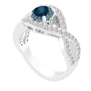 Platinum 1.53 Carat Fancy Blue Diamond Engagement Ring Bridal Certified Handmade