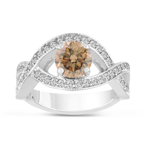 1.53 Carat Fancy Champagne Brown Diamond Engagement Ring 14K White Gold Bridal Certified Handmade