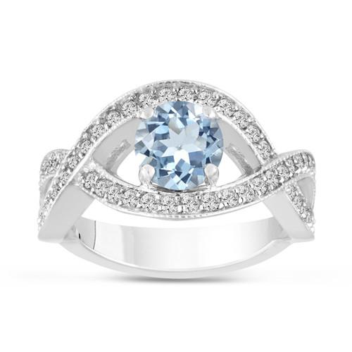 1.42 Carat Aquamarine Engagement Ring 14K White Gold Bridal Certified Handmade