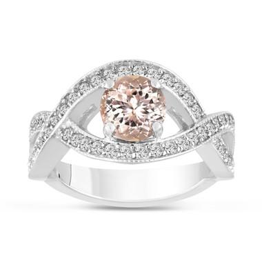 1.42 Carat Pink Peach Morganite Engagement Ring 14K White Gold Bridal Certified Handmade