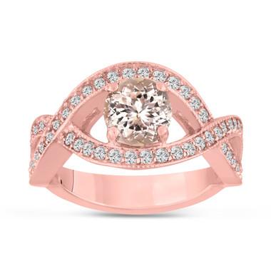 1.42 Carat Pink Peach Morganite Engagement Ring 14K Rose Gold Bridal Certified Handmade