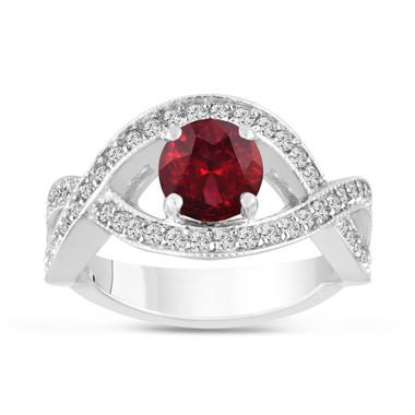 1.52 Carat Red Garnet Engagement Ring 14K White Gold Bridal Certified Handmade