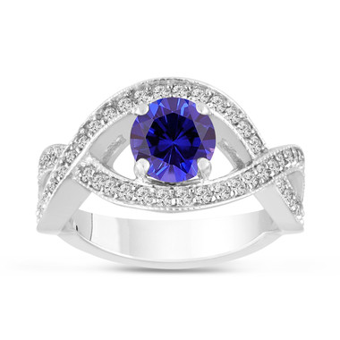 1.55 Carat Blue Sapphire Engagement Ring 14K White Gold Bridal Handmade Certified