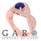 1.55 Carat Blue Sapphire Engagement Ring 14K Rose Gold Bridal Handmade Certified