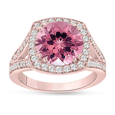 Pink Tourmaline Engagement Ring 14K Rose Gold 3.25 Carat Pave Halo Handmade Certified