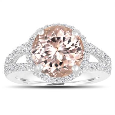 Morganite Engagement Ring 3.53 Carat 14K White Gold Halo Pave Split Shank Handmade Certified