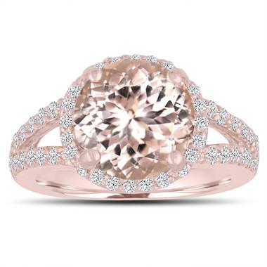 Morganite Engagement Ring 3.53 Carat 14K Rose Gold Halo Pave Split Shank Handmade Certified