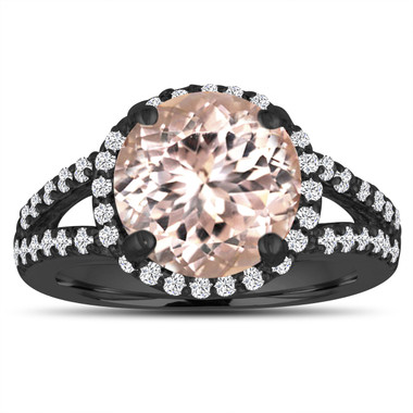 Morganite Engagement Ring 3.53 Carat 14K Black Gold Vintage Style Halo Pave Split Shank Handmade Certified
