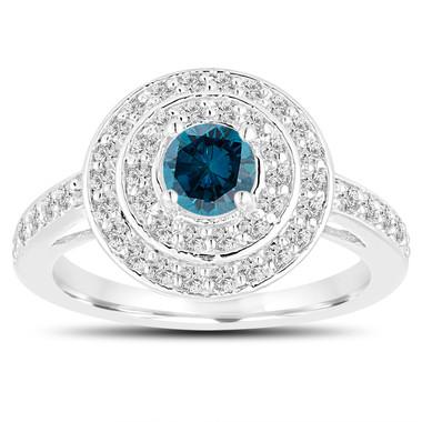 Double Halo Fancy Blue Diamond Engagement Ring 14K White Gold Unique 1.09 Carat Pave Handmade Certified