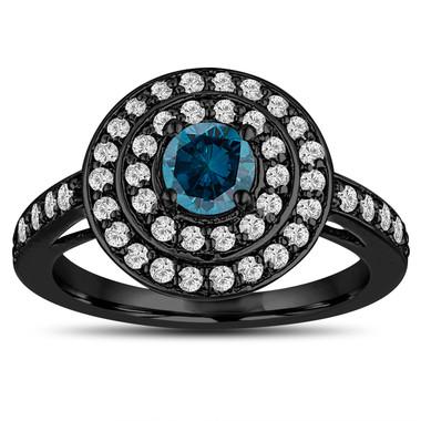 Blue Diamond Engagement Ring Double Halo 14K Black Gold Vintage Style Unique 1.09 Carat Pave Handmade Certified