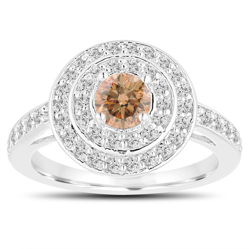 Double Halo Fancy Champagne Diamond Engagement Ring 14K White Gold Unique 1.07 Carat Pave Handmade Certified