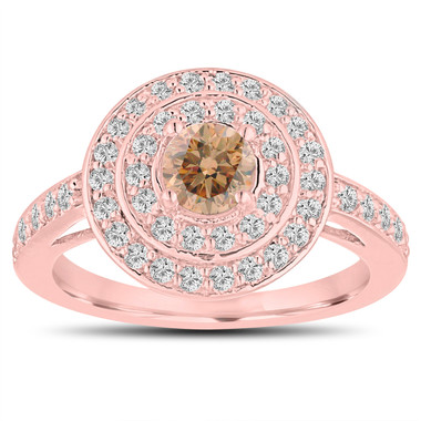 Fancy Champagne Diamond Engagement Ring 14K Rose Gold Double Halo Unique 1.07 Carat Pave Handmade Certified