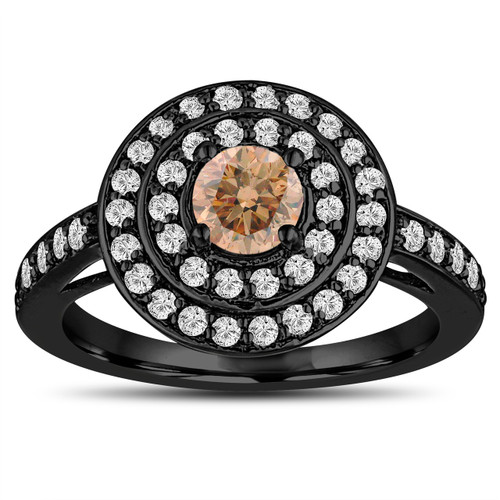 Fancy Champagne Diamond Engagement Ring 14K Black Gold Vintage Style Double Halo Unique 1.07 Carat Pave Handmade Certified