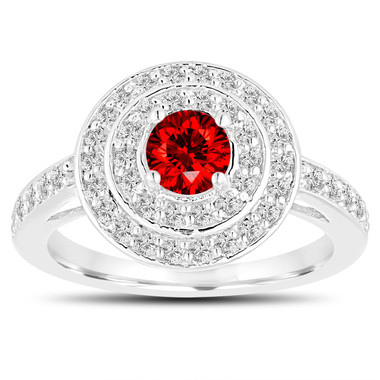 Fancy Red Diamond Engagement Ring 14K White Gold Double Halo Unique 1.05 Carat Pave Handmade Certified