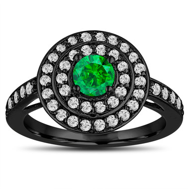 Fancy Green Diamond Engagement Ring 14K Black Gold Vintage Style Double Halo Unique 1.04 Carat Pave Handmade Certified