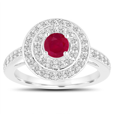 Double Halo Ruby Engagement Ring 14K White Gold 1.09 Carat Pave Unique Handmade Certified