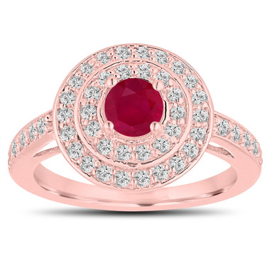 Double Halo Ruby Engagement Ring 14K Rose Gold 1.09 Carat Pave Unique Handmade Certified