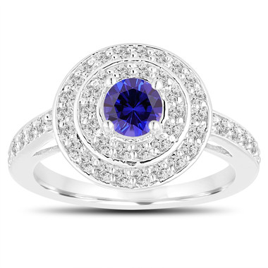 Double Halo Blue Sapphire Engagement Ring 14K White Gold 1.04 Carat Pave Unique Handmade Certified