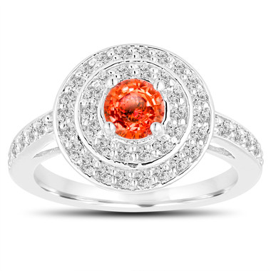 Orange Sapphire Engagement Ring 14K White Gold Double Halo 1.19 Carat Pave Unique Handmade Certified