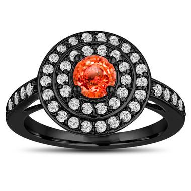 Orange Sapphire Engagement Ring 14K Black Gold Vintage Style Double Halo 1.19 Carat Pave Unique Handmade Certified