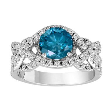 Blue & White Diamonds Engagement Ring 1.90 Carat Unique 14k White Gold Certified Handmade