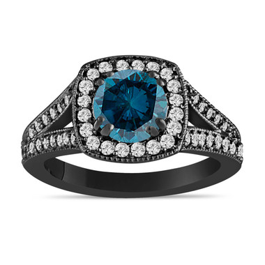 1.57 Carat Fancy Blue Diamond Engagement Ring 14K Black Gold Vintage Style Bridal Handmade Pave Halo
