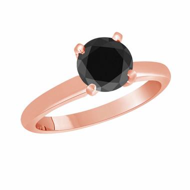 Fancy Black Diamond Solitaire Engagement Ring 14k Rose Gold 1.50 Carat Certified handmade Bridal