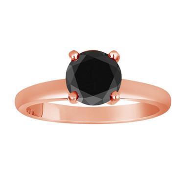 14k Rose Gold 2.75 Carat Fancy Black Diamond Solitaire Engagement Ring handmade Bridal