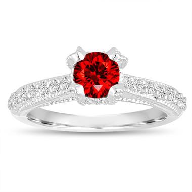 Fancy Red Diamond Engagement Ring 0.81 Carat 14K White Gold Handmade Certified