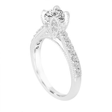 Platinum Diamond Engagement Ring 0.80 Carat Vintage Style Unique Handmade Certified