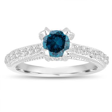 Fancy Blue Diamond Engagement Ring 0.80 Carat 14K White Gold Unique Handmade Certified