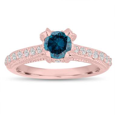 Fancy Blue Diamond Engagement Ring 0.80 Carat 14K Rose Gold Unique Handmade Certified